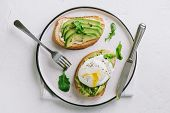 Avocado And Poached Egg Sandwiches poster