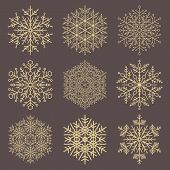 Set Of Vector Snowflakes. Golden Winter Ornaments. Snowflakes Collection. Snowflakes For Backgrounds poster