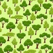 Seamless Pattern With Stylized Trees. Cartoon Garden Green Tree. Nature Forest And Park. Spring Or S poster