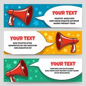 Announcement Megaphone Banners. Card Banner Set With Bullhorn Or Speaking Trumpet For Sale Voucher O poster