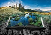 Alpine Mountain Valley In A Light Of Sunrise On The Pages Of An Open Magical Book. Majestic Landscap poster