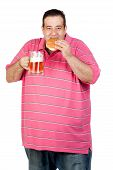 stock photo of unhealthy lifestyle  - Fat man drinking a jar of beer and eating hamburger isolated on white background - JPG