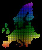 Spectrum Dotted Pixelated European Union Map. Vector Geographic Map In Bright Colors On A Black Back poster