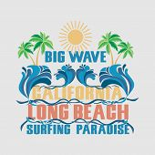 Surfing California, T-shirt Surfing Long Beach, Water Sports, T-shirt Inscription Typography, Graphi poster