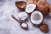 Fresh Coconut And Coconuts Oil. Selective Focus poster