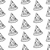 Cute Cartoon Pizza Background With Hand Drawn Pizza Slices. Sweet Vector Black And White Pizza Backg poster