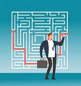 Businessman Drawing Right Path To Success In Complex Maze, Labyrinth. Simple Solution Creative Vecto poster