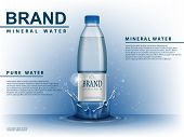 Pure Mineral Water Ad, Plastic Bottle With Water Drop Elements On Blue Background. Transparent Drink poster