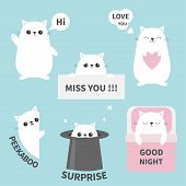 Cat Kitten Sticker Emotion Emoji Icon Set. Miss You. Hi. Good Night, Love You. Funny Head Face. Cute poster