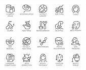 Set Of 20 Icons On Cosmetology Theme. Labels Isolated. Beauty Therapy, Medicine, Healthcare, Wellnes poster