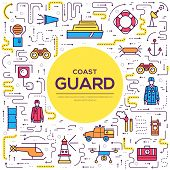 Coast Guard Day Illustration Vector Outline Icon Set. Thin Line Guarding The Order Elements poster