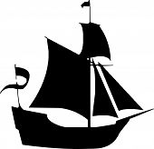stock photo of pirate ship  - Scalable vectorial image representing a boat silhouette - JPG