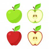 Vector Illustration In Flat Style. Set Of Red And Green Apples And Their Pieces With Stem And Leaf.  poster