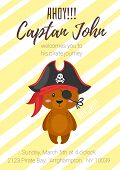 Vector Cartoon Style Kids Pirate Party Poster With Cute Character Bear In Pirate Hat And Yellow Stri poster