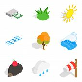 Ecologically Friendly Icons Set. Isometric Set Of 9 Ecologically Friendly Vector Icons For Web Isola poster