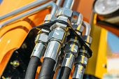 Hydraulic System, Steel Tubes And Rubber Parts Of Lifting Mechanism Of Modern Tractor Or Excavator,  poster
