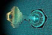 Cybersecurity Concept: A 3d Rendered Illustration Of A Key Morphing Into Binary Code And Entering An poster