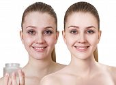 Comparison Portrait Of Young Woman Before And After Retouch And Makeup. poster