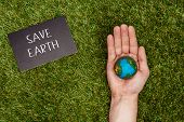 Cropped Image Of Man Holding Earth Model In Hand With Sign Save Earth On Green Grass, Earth Day Conc poster