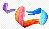 Acrylic Paint Brush Stroke. Vector Bright Orange, Velvet Or Purple And Blue Gradient 3d Paint Brush  poster