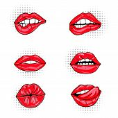 Set Of Sexy Female Lips In Red Glossy Lipstick, Seductive, Kissing, Bitten, With Tongue,  Glamour Mo poster