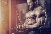 Brutal Strong Bodybuilder Athletic Fitness Man Pumping Up Abs Muscles Workout Bodybuilding Concept B poster