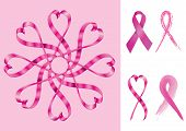 stock photo of breast-stroke  - Breast Cancer Support Ribbons  - JPG