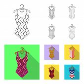 Different Kinds Of Swimsuits. Swimsuits Set Collection Icons In Outline, Flat Style Vector Symbol St poster