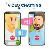 Chatting Vector. Talking Design. Social Media Service. Smartphone. On-line Chat App. Speaking Girl.  poster