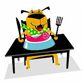 Eating Dog. A Cheerful Dog Sits At A Table And Eats Sausage With A Fork. Cartoon Vector Illustration poster