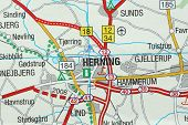 Herning. Kongeriget Danmark. A Paper Map And Roads On The Map. poster