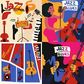 Set Of Colorful Music Cards And Banners. Music Cards With Instruments Flat Vector Illustration. Jazz poster