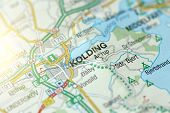 Kolding. Kongeriget Danmark. A Paper Map And Roads On The Map. poster