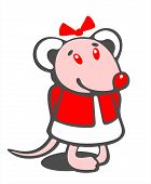 picture of pack-rat  - The stylized christmas mouse on a white background - JPG