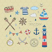 Nautical Sailor Graphic Set. A Playful, Modern, And Flexible Pattern For Brand Who Has Cute And Fun  poster