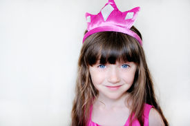 picture of toddlers tiaras  - Portrait of beautiful little girl in pink tiara - JPG
