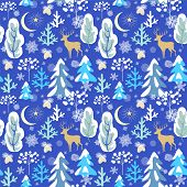 Elegant paper blue seamless background with winter pattern with snowy firs, trees, reindeer, strobil poster