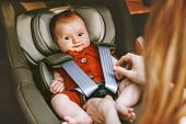 Cute Baby In Safety Car Seat Family Road Trip Vacations Lifestyle Childcare Kids Transportation Rear poster