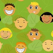 children faces background. friendship pattern