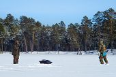 Fishermen On The Winter Lake. Winter Sport Winter Fishing Fishing In The Winter poster