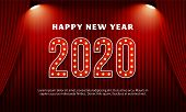 Happy New Year 2020 Billboard Typography Text Celebration Poster Design. Red Curtain Theater Stage B poster
