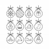 Set Of Christmas Ball Icon Outline Vector Illustration Isolated On White Background. Christmas Ball  poster