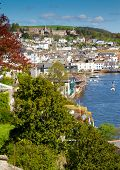 image of dartmouth  - Dartmouth town in Devon with the Naval College up on the hill - JPG