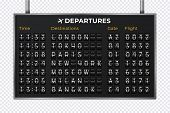 Airport Mechanical Scoreboard. Realistic Equipment Board Message Departures And Arrivals Flight. Fli poster