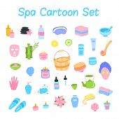 Vector Cute Cartoon Flat Icons Spa Elements Set. Spa And Massage Salon Objects Collection. Candles,  poster