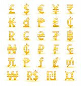 stock photo of shekel  - Set of golden currency symbols of the world - JPG