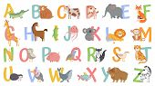 Cartoon Animals Alphabet For Kids. Learn Letters With Funny Animal, Zoo Abc And English Alphabet For poster