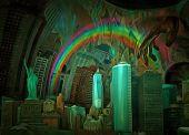 Surreal Manhattan. Digital painting. 3D rendering poster