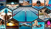 Swimming sport collage. Professional women and men in swimming pool poster