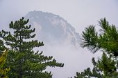 View Of The Peak Covered In Fog As Seen From The Trail To The North Peak Summit Of The Inspiring, Sa poster